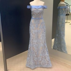 Lace off the shoulder gown